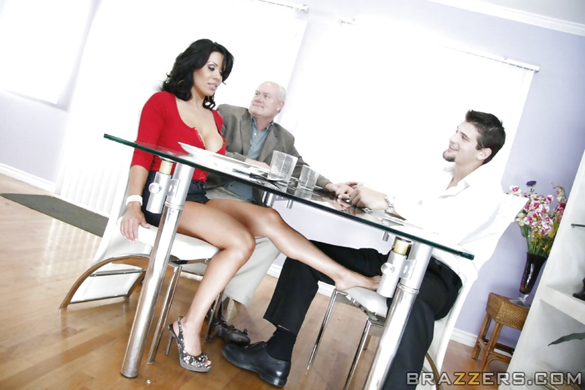 Nylon Footjob Under The Table