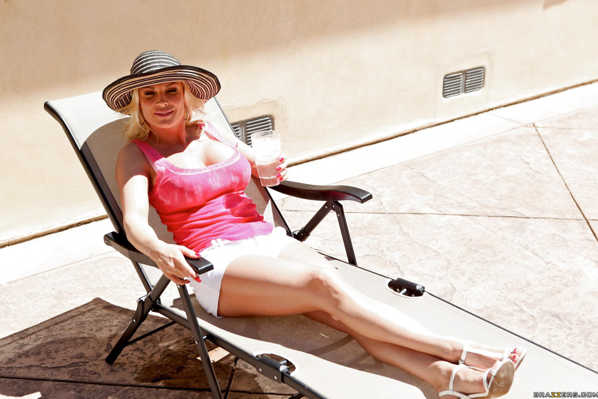 Classy blonde MILF sunbathing and getting smashed indoors