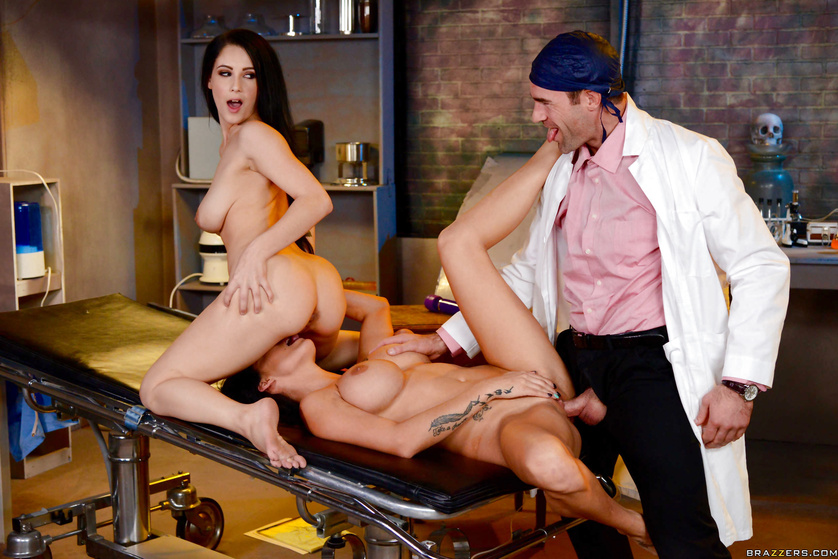 Two stacked brunette babes get fucked in some underground facility