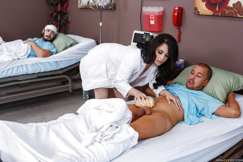 Red panties brunette nurse gives her patient a little present