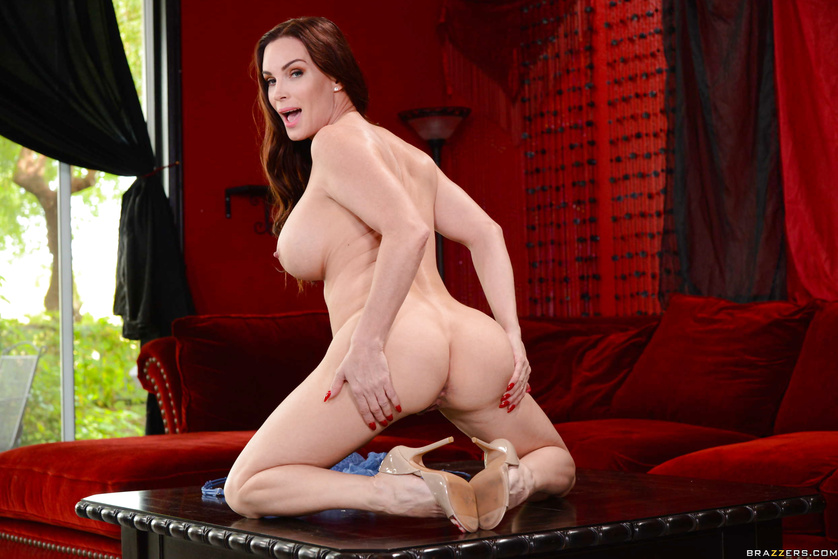 Ginger woman in blue lingerie gets punished on the red sofa