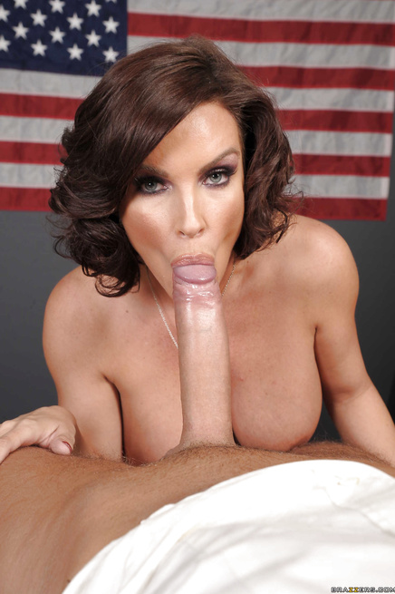 USA's hottest brunette MILF gets her pussy fucked on the desk