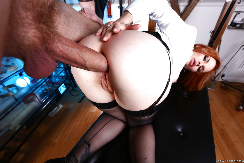 Deep penetration for the redhead woman in black stockings