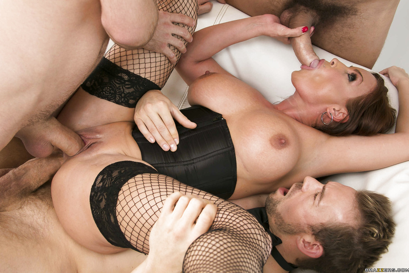 Blindfolded brunette is enjoying foursome with three strong men