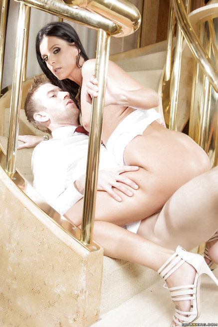 Sexy MILF bride gets banged on a spiral staircase