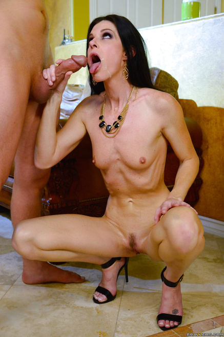 Panty-sniffing nerd gets to fuck a skinny brunette MILF