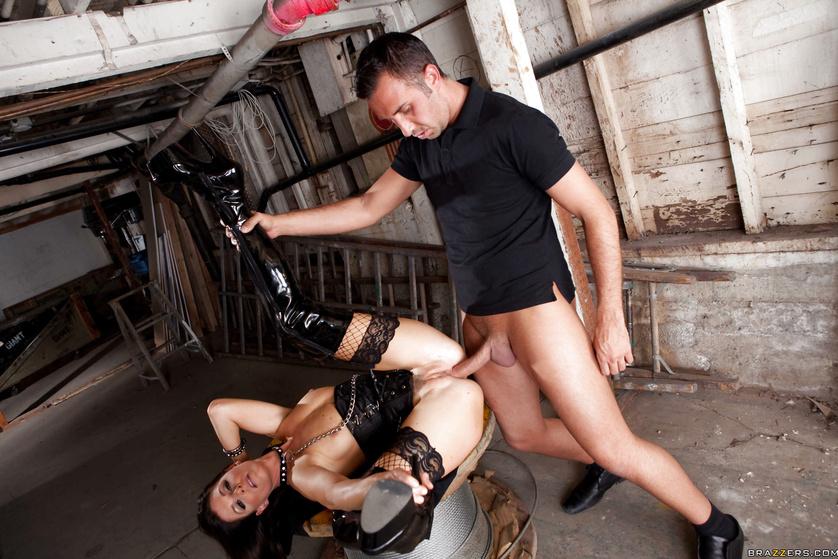 Hot brunette in BDSM uniform is enjoying rough sex