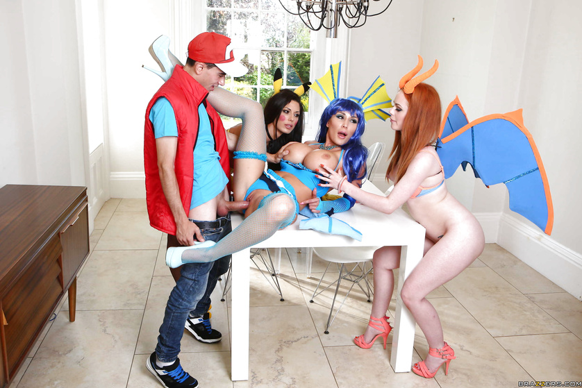 Horny Pokemon trainer meets the sluttiest Pokemons you can imagine