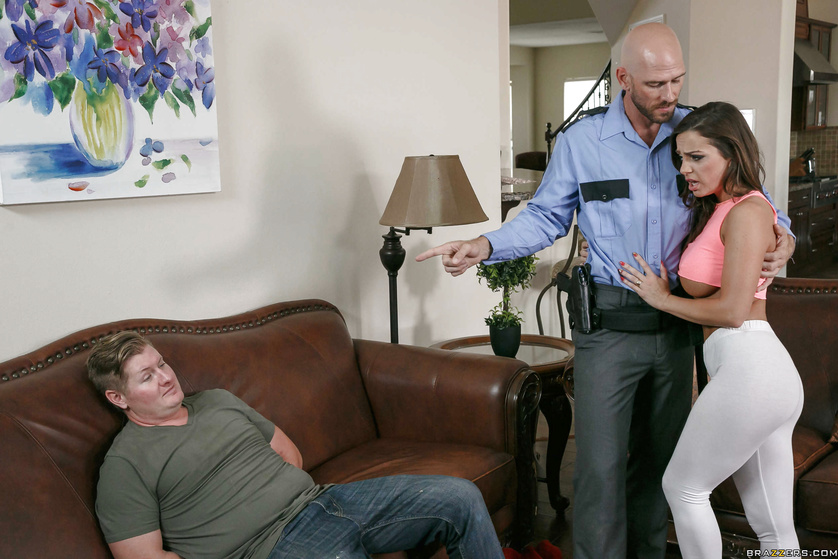 Handsome police man is banging the juicy lady on the brown sofa