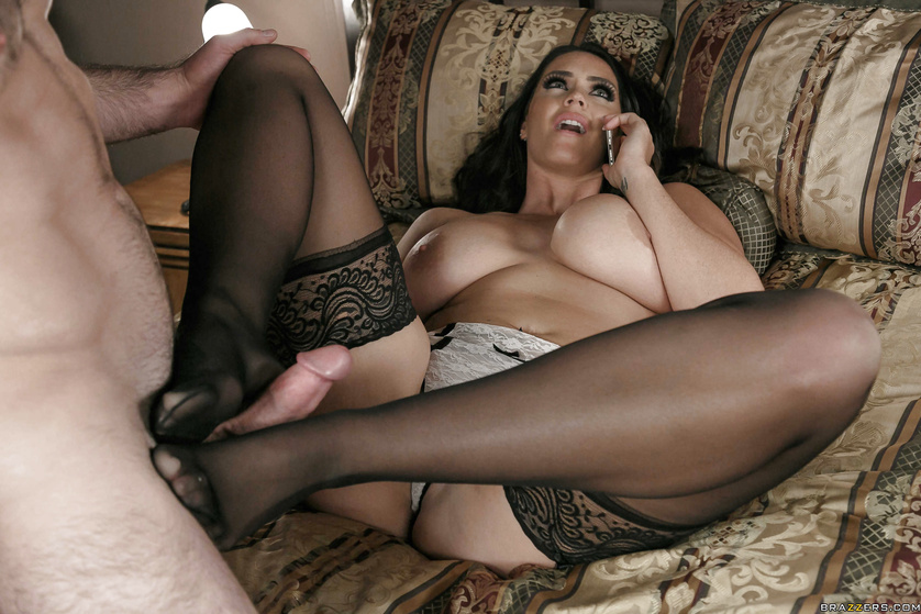 Appetitive brunette in stockings is masturbating before sex