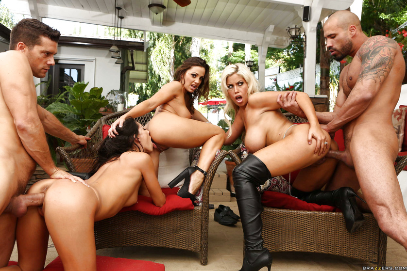 Two brutal men are punishing three hot whores with passion