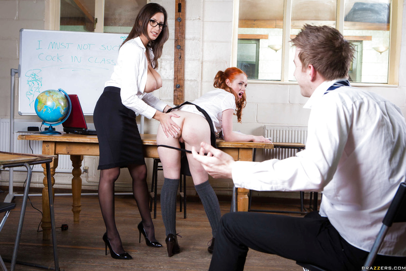 Lucky guy is fucking the hot schoolgirl and the busty teacher