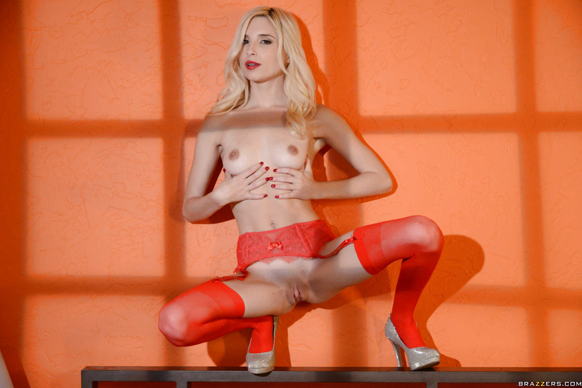 Sexy blonde wearing orange stockings gets fucked by the bald man