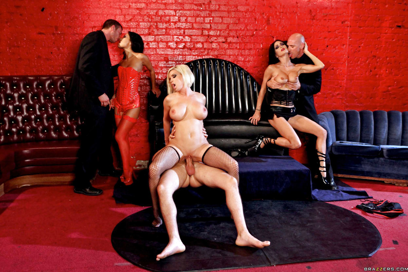 Many kinky ladies are getting punished on the big black sofa