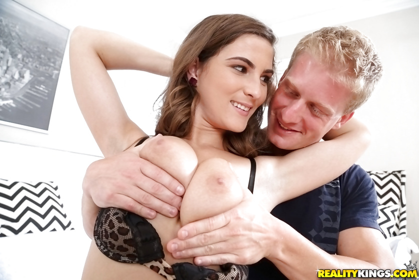 Jizzing on big tits of the hottest model you've ever seen
