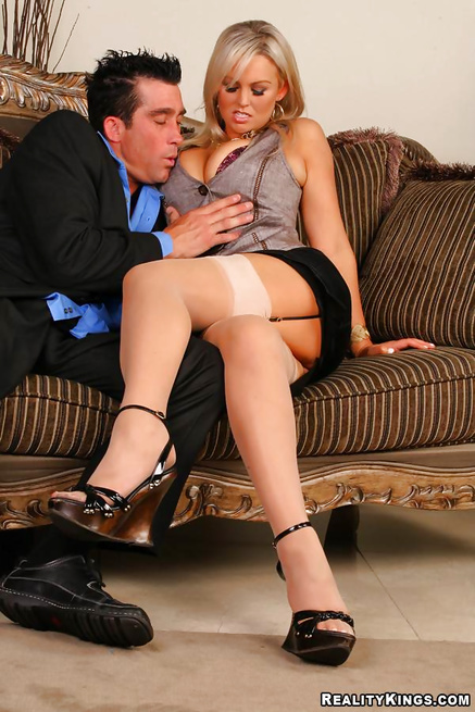 Hardcore fuck in doggy style with a beautiful blonde secretary