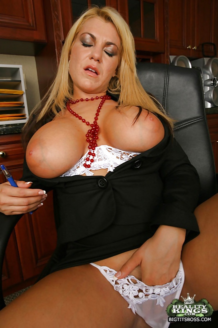 Astounding blonde MILFs share a big cock right in their office