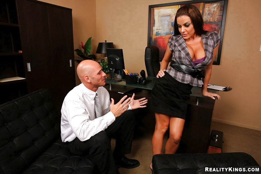 Boss loves playing with big tits of his formidable secretary
