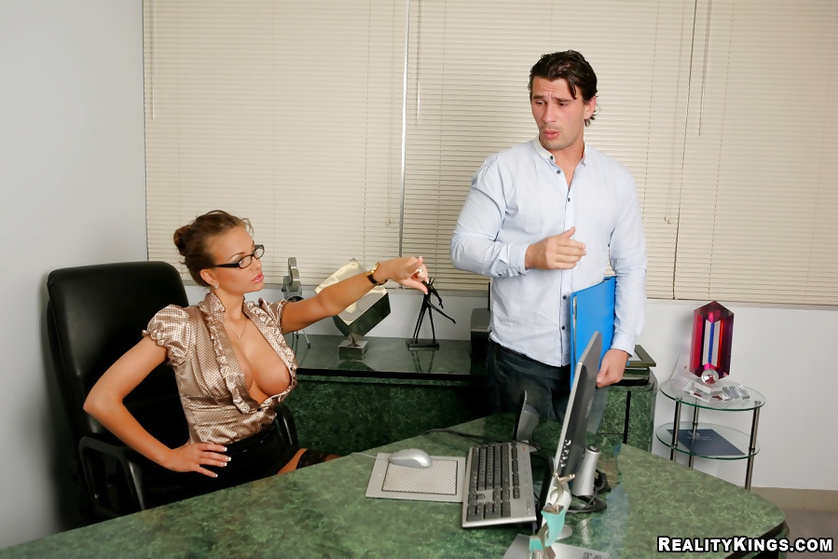 Naughty boss likes fucking his secretary after a long day at work