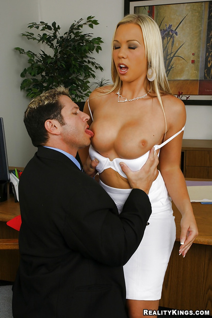 Enjoying an enormous cock of her coworker from the office