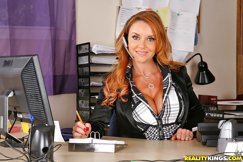 Incredible stud pleasing a splendid MILF on her office table