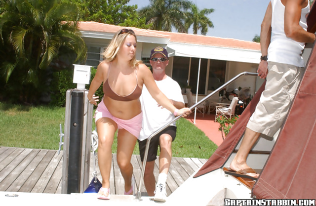 Two sailors penetrate marvelous MILF while on their huge boat