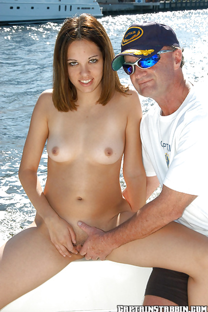 Tanned cutie in a sexy bikini seduced for a ride on a luxury yacht