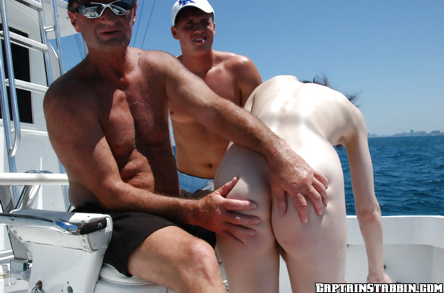 Outdoor threesome sex on the boat with a naughty skinny babe