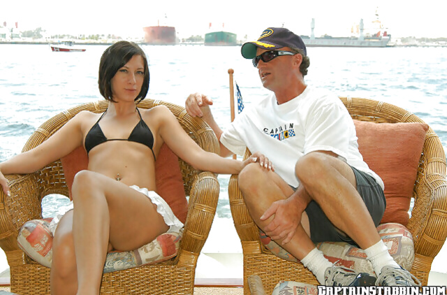 Brunette has her every single hole drilled by a captain
