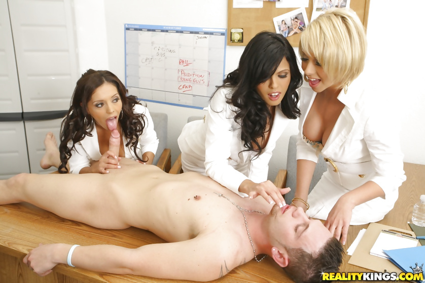 Sick patient receives the best treatment from three sexy nurses