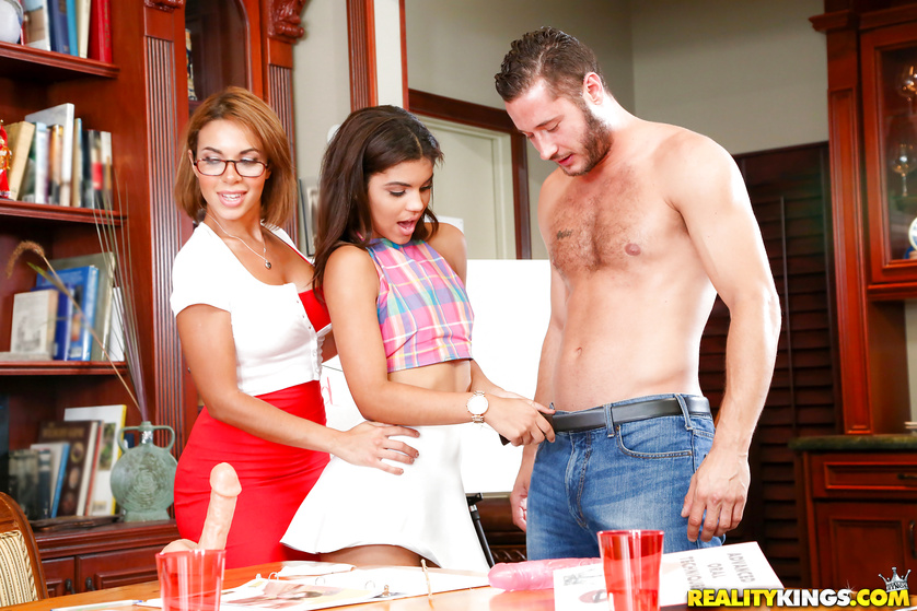 Young girls and their MILF teacher having an amazing fuck lesson