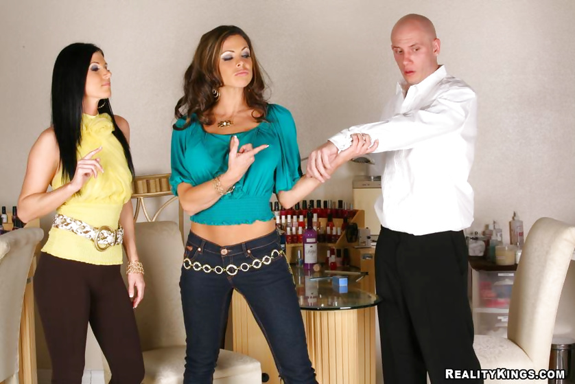 Bold guy receives blowjobs from two beautiful MILF before nailing them