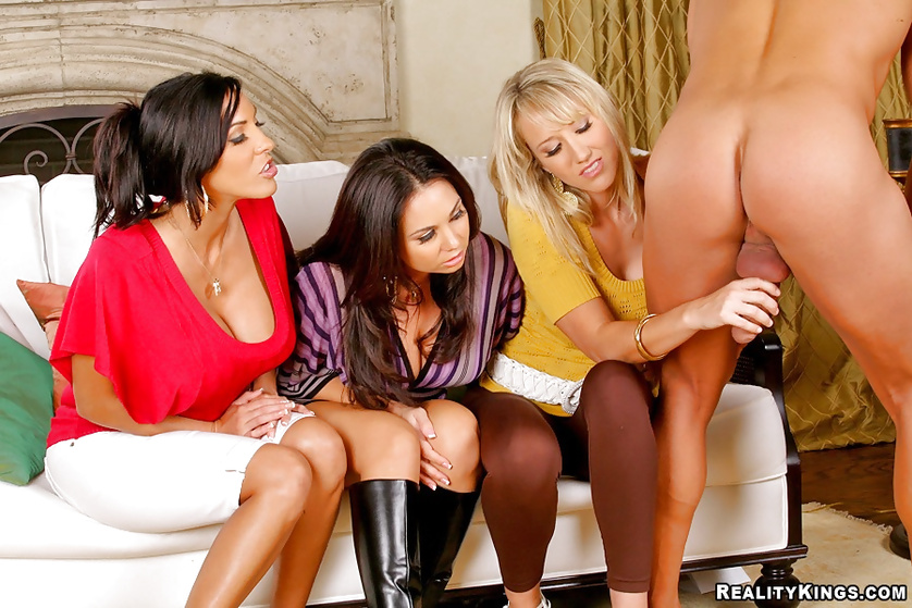 One guy makes three MILF beauties pleased with his big cock