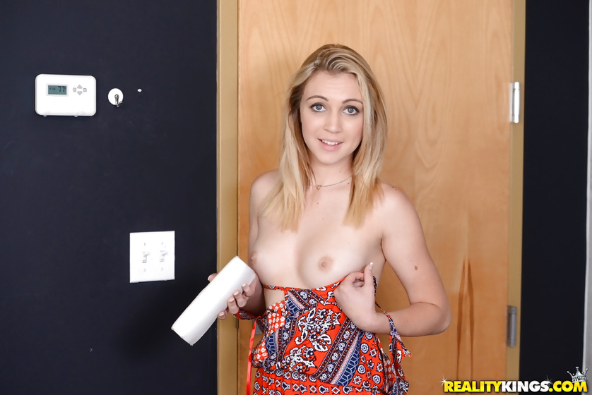 Blonde wearing cool skirt is enjoying passionate sex