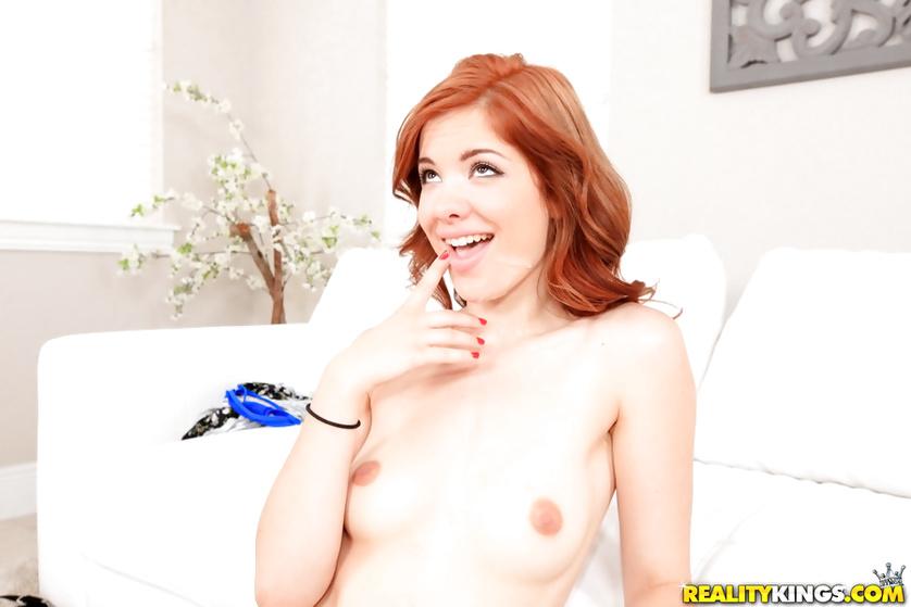 Fucking hard slutty redhead babe in sexy dress