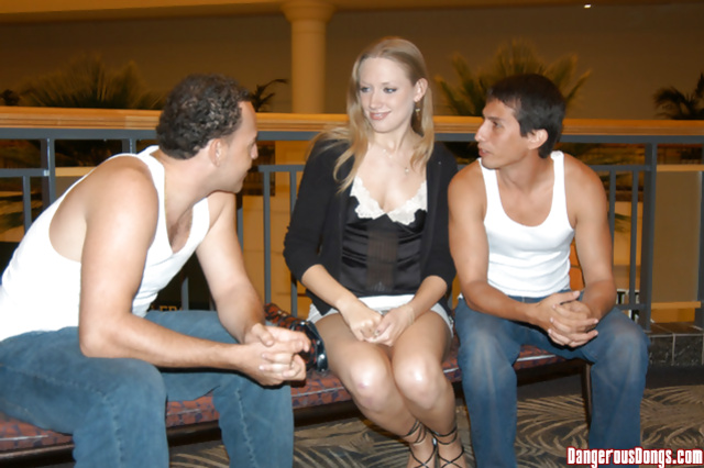 Two passionate guys are enjoying threesome with sexy babe