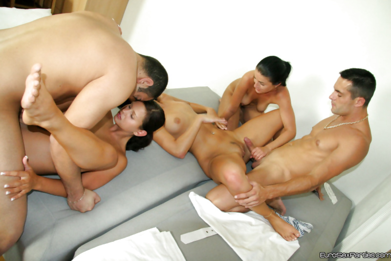 Two guys are powerful enough to satisfy three babes