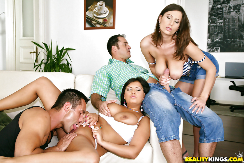 Adorable models having awesome boobs love hardcore fuck