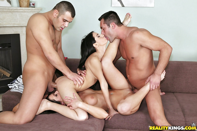 Amazing foursome clip starring lovely brunettes and their boyfriends
