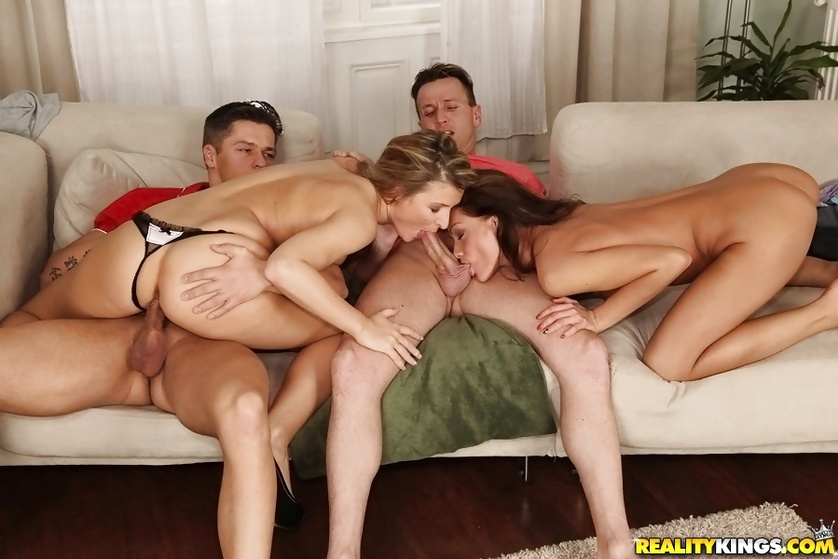 Filthy chicks are getting shaved cunts drilled wildly