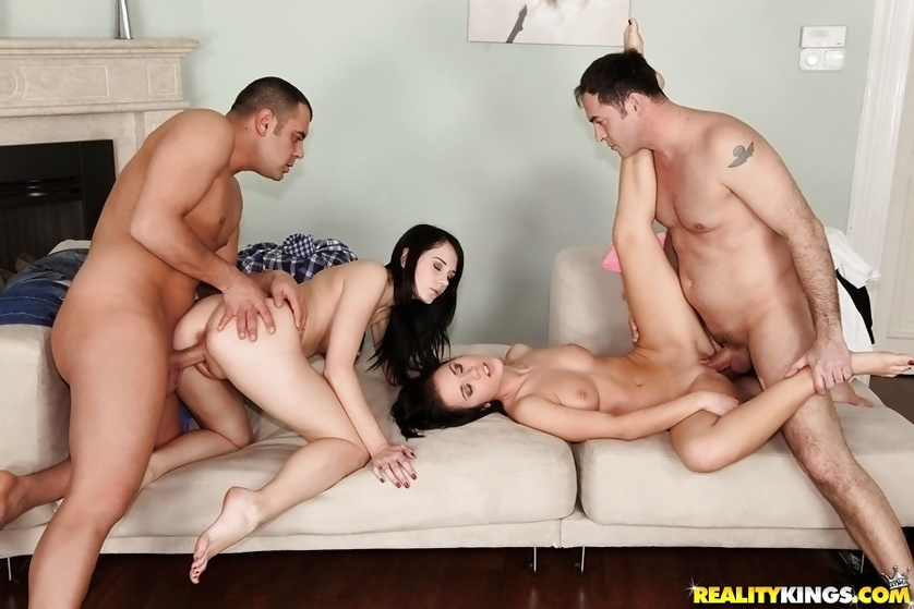 Sweet babes' shaved pussies are getting banged deep