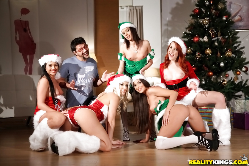 Five lovely chicks are fucking with men on Christmas