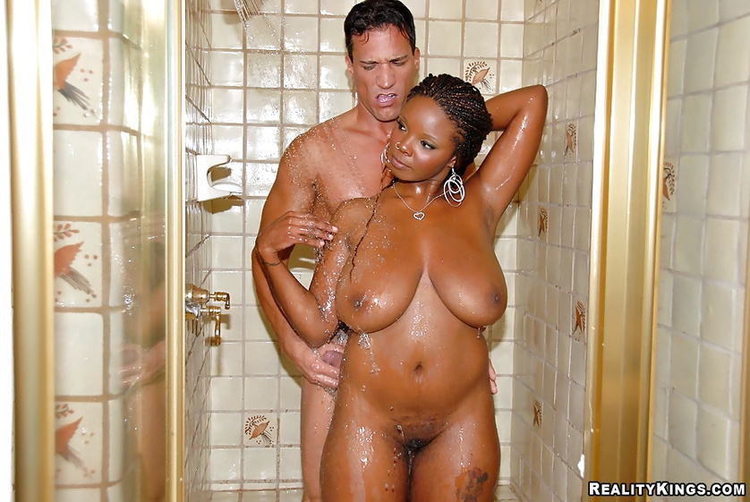 Drilling sweet chocolate woman after taking shower with her