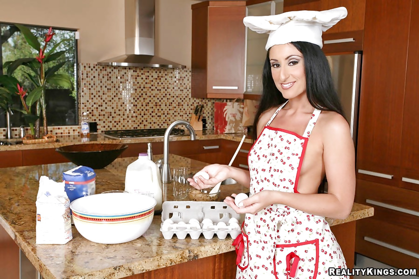 Sexy MILF is taking care of strong cock in the kitchen