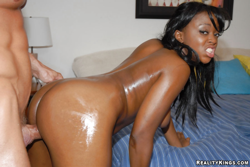 Wild interracial sex with adorable ebony mademoiselle