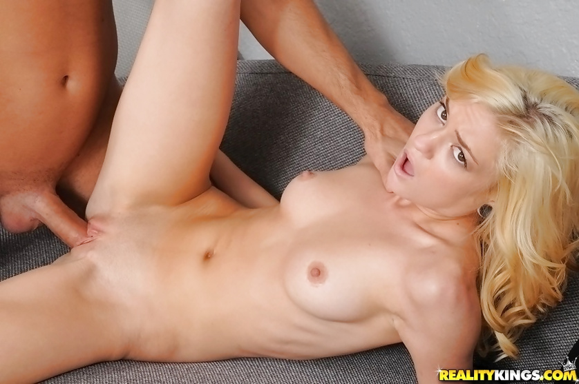 Excellent blonde is eating cum on her first audition