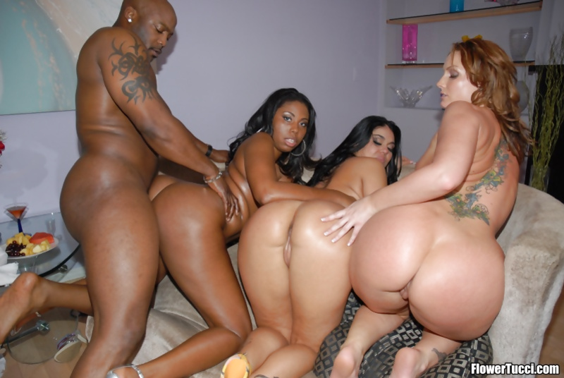 Three gorgeous queens are sharing big black cock