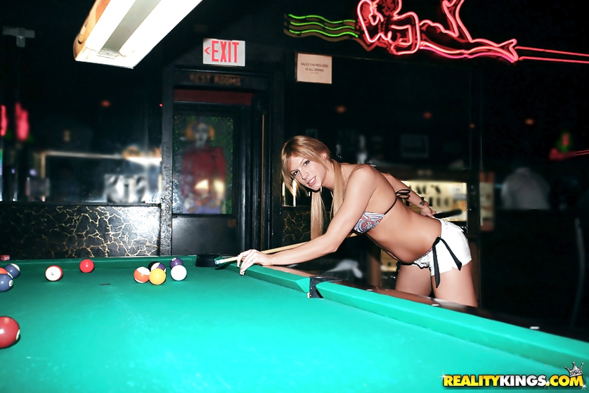She loves touching herself after playing billiards