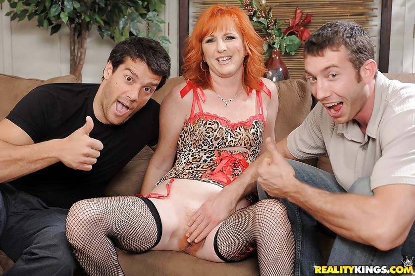 Redhead MILF is going mad having wild threesome