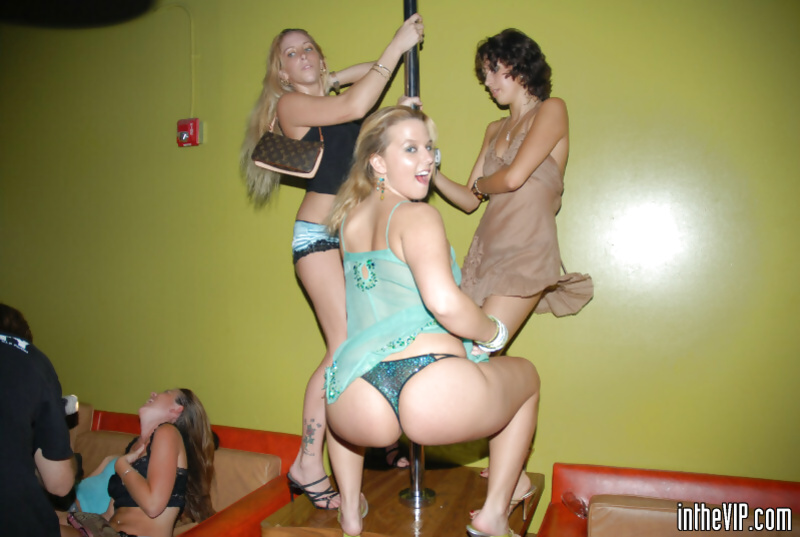 Blonde stripper is getting banged by two partners